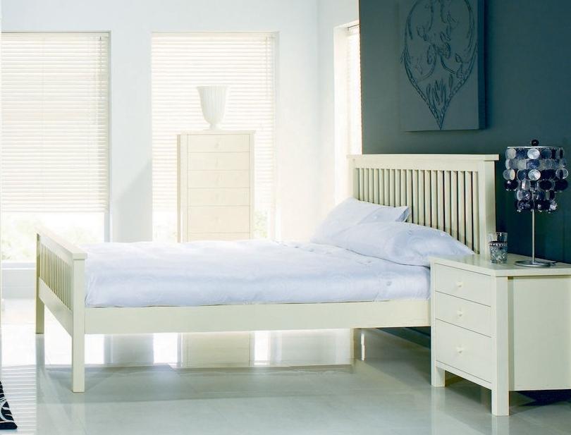 Bed Frames UK Atlanta soft white bed frame (high foot end)